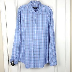 Bugatchi | Classic Blue Red Plaid Shaped Fit Shirt